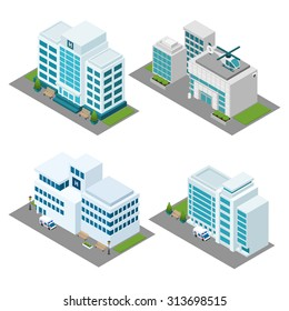 Hospital building isometric icons set with ambulance helicopter and lawn isolated vector illustration