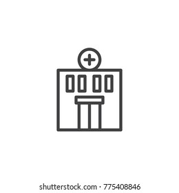 Hospital building line icon, outline vector sign, linear style pictogram isolated on white. Medical clinic symbol, logo illustration. Editable stroke
