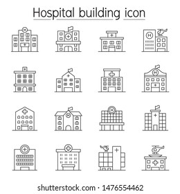 Hospital building, Medical center icon set in thin line style