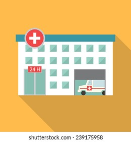 Hospital building, medical icon. Flat design vector with long shadow