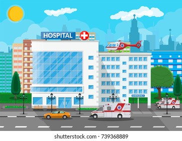Hospital building, medical icon. Healthcare, hospital and medical diagnostics. Urgency and emergency services. Road, sky, sun, tree. Car and helicopter. Vector illustration in flat style