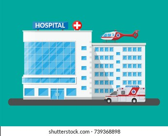 Hospital building, medical icon. Healthcare, hospital and medical diagnostics. Urgency and emergency services. Car and helicopter. Vector illustration in flat style