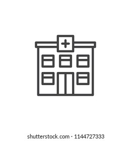 Hospital building outline icon. linear style sign for mobile concept and web design. Medical clinic simple line vector icon. Emergency symbol, logo illustration. Pixel perfect vector graphics