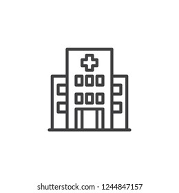 Hospital building outline icon. linear style sign for mobile concept and web design. Clinic with medical cross simple line vector icon. Symbol, logo illustration. Pixel perfect vector graphics