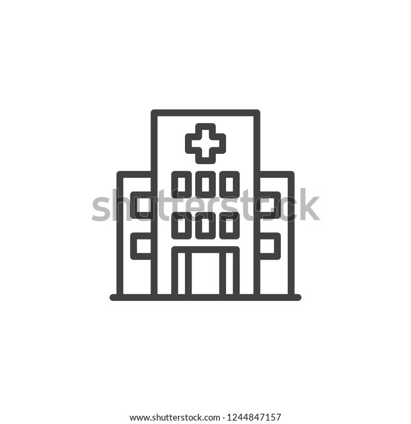 Hospital Building Outline Icon Linear Style Stock Vector