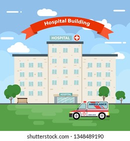 The hospital building is professional medical center, vector illustration Eps 10.
