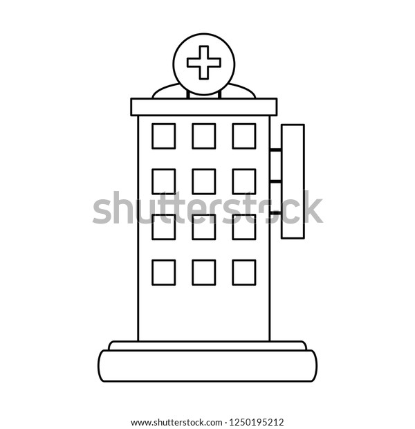 Hospital building scenery in black and white