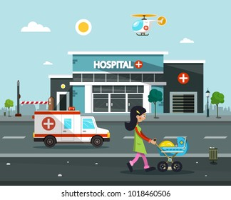 Hospital Building. Vector Flat Design Illustration.