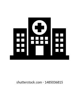 Hospital building vector icon. ambulance illustration symbol or logo. aid sign.