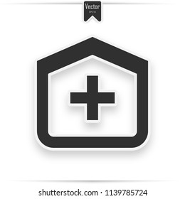 Hospital Building vector icon. Style is flat rounded square button, black and white colors. icon with realistic shadow
