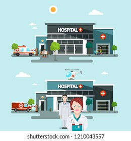 Hospital Buildings with Doctors