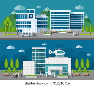Hospital buildings front flat horizontal banner set isolated vector illustration