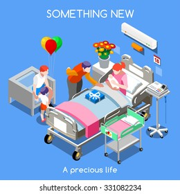 Hospital Clinic Maternity Room Mother Bed Baby delivery Childbirth. 3D Flat Isometric Family People Medical Trial Hospital Research. New Born Clinic Hospital Maternity  Infographic Vector Illustration