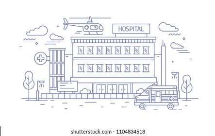 Hospital, clinic or medical center building with helicopter landing on top of it and ambulance drawn with contour lines on white background. Monochrome vector illustration in modern lineart style