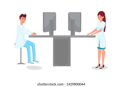 Hospital computerization flat vector illustration. Young male and female doctors, scientists in white coats cartoon characters. Medical clinic staff working with computers, medicine modernization