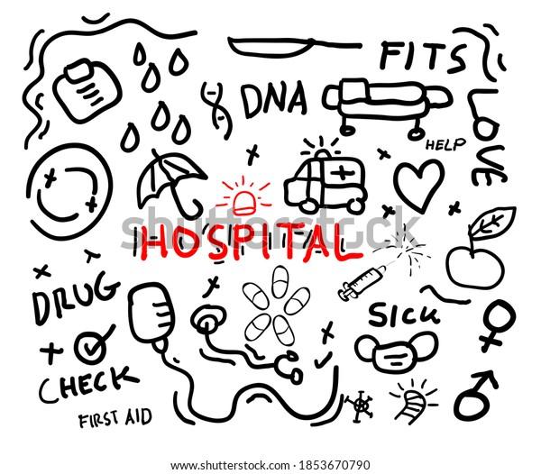 hospital concept doodle vector illustration