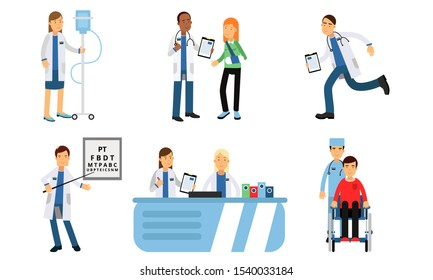 Hospital Daily Routine With Ophthalmological Tests, Reception, Dropper With Saline And Other Actions In Vector Illustration Set Isolated On White Background