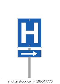 Hospital direction sign on white background