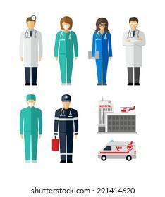 Hospital Doctor Surgeons Nurse Paramedic vector figures icons