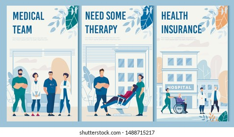 Hospital Facilities and Services Flat Flyers Set. Professional Medical Team, Need Some Therapy, Healthcare Insurance Card. Clinic Building and Tools for Aid. Vector Cartoon Illustration