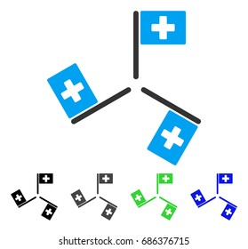 Hospital Flags flat vector pictograph. Colored hospital flags gray, black, blue, green icon variants. Flat icon style for application design.