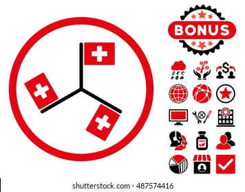 Hospital Flags icon with bonus pictures. Vector illustration style is flat iconic bicolor symbols, intensive red and black colors, white background.