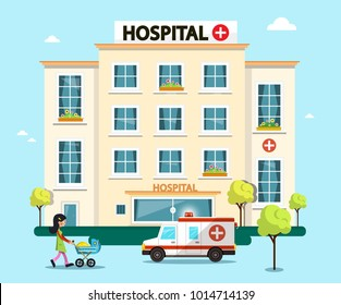 Hospital Flat Design Vector Illustration with Ambulance Car and Woman with Baby  Carrige
