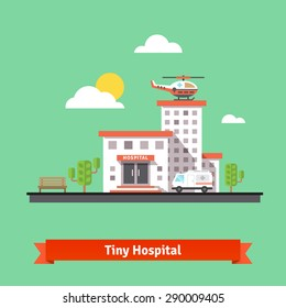 Hospital flat vector illustration. Clinic building with ambulance helicopter and car. Flat vector illustration.
