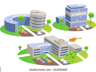 Hospital. Fun cartoon map elements. Elements are in the separate layers.