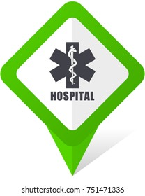 Hospital green square pointer web and mobile phone vector icon in eps 10 on white background with shadow