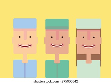 Hospital group set flat vector