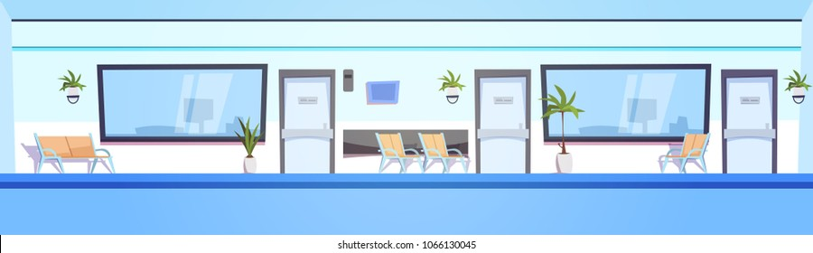 Hospital Hall Empty Clinic Interior Waiting Room Horizontal Banner