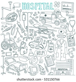 Hospital and health care outline drawings set.  Wheelchair, surgery instruments and light, doctor coat, ambulance car, drugs, pills, medicine. Vector illustration isolated on white background.