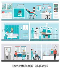 Hospital and healthcare banner set: doctors working in the office, ward, surgery, reception and patients waiting in the corridor