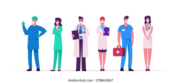 Hospital Healthcare Staff, Doctor Characters in Medical Masks and Robe during Covid19 Pandemic. Surgeon, Nurse in Uniform in Clinic. Medicine Profession, Occupation. Cartoon People Vector Illustration