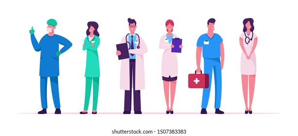 Hospital Healthcare Staff Set. Doctors in Medical Robe with Stethoscope Holding Notebook. Surgeon Character in Uniform, Nurse Clinic, Medicine Profession Occupation. Cartoon Flat Vector Illustration