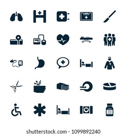 Hospital icon. collection of 25 hospital filled icons such as blod pressure tool, stomach, lungs, disabled, medical sign. editable hospital icons for web and mobile.