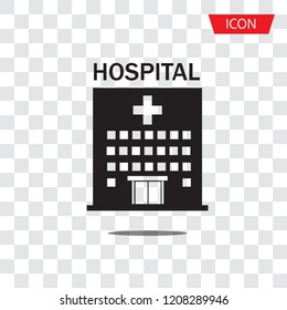 Hospital icon cross building isolated on white background.