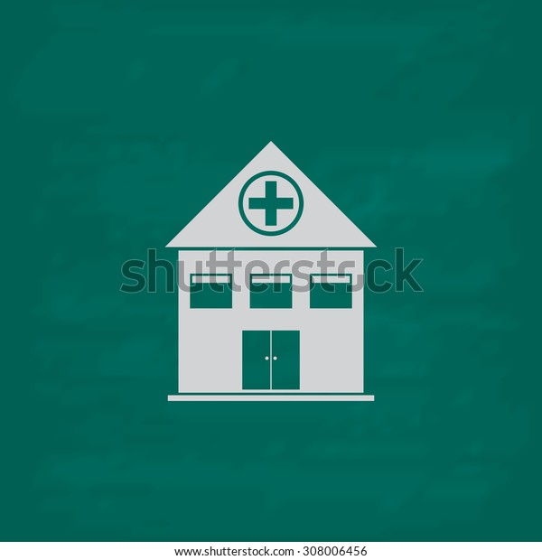 Hospital. Icon. Imitation draw with white chalk on green chalkboard. Flat Pictogram and School board background. Vector illustration symbol