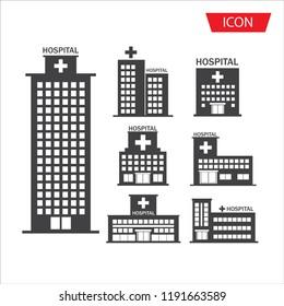 Hospital  icon set  building isolated on white background.