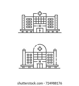 Hospital icon set. Collection of medicine buildings. Medical center signs concept in flat line style. Private clinic symbols. Vector modern illustration isolated on white background
