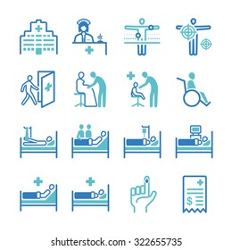 Hospital icon set. Included the icons as medical, health care, patient, treatment, remedy, physical therapy and more.