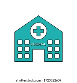 Hospital icon. Symbol of wellness getting medical help. Vector illustration isolated.