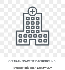 Hospital icon. Trendy flat vector Hospital icon on transparent background from Health and Medical collection. High quality filled Hospital symbol use for web and mobile