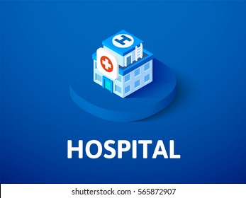 Hospital icon, vector symbol in flat isometric style isolated on color background