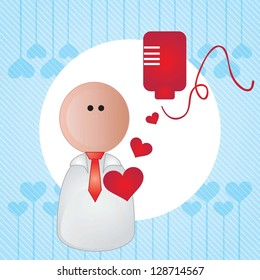 Hospital Icons  (blood transfusion) On blue background
