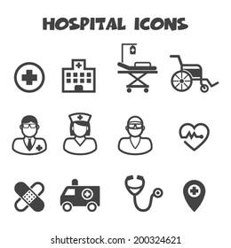 hospital icons, mono vector symbols
