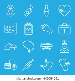 Hospital icons set. set of 16 hospital outline icons such as gloves, medical cross, stethoscope, syringe, blod pressure tool, medical cross tag, heartbeat clipboard, nurse