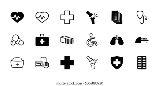 Hospital icons. set of 18 editable filled and outline hospital icons: heartbeat, lungs, medical sign, medical cross, mri, broken leg or arm, blod pressure tool, pill, disabled