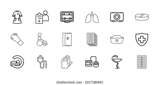 Hospital icons. set of 18 editable outline hospital icons: heartbeat, case with heart, blod pressure tool, mri, medical sign, nurse gown, medicine, doctor prescription